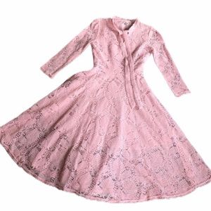 Rose Pink Lace Tie Front Dress